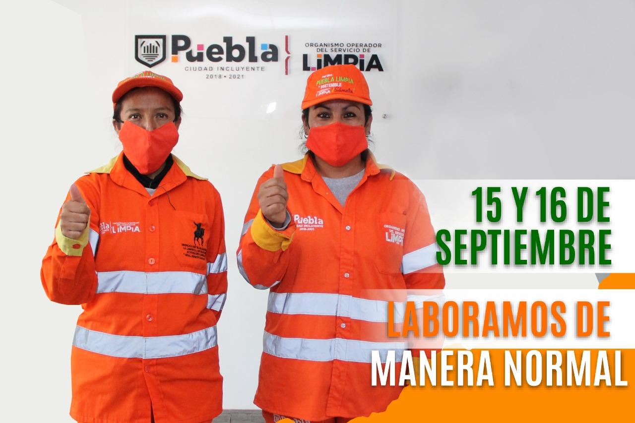 Habrá servicio de limpia durante festejo de Independencia en el municipio de Puebla