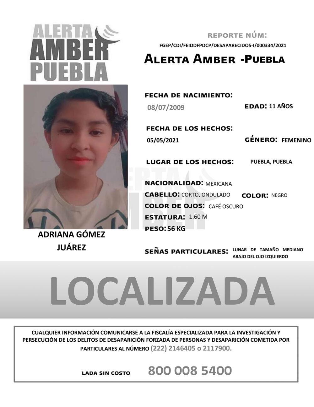 Fiscalía localizó ilesa a Adriana de 11 años de edad