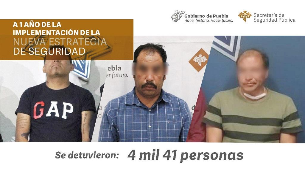 Captura SSP a 4 mil presuntos delincuentes en Puebla, en un año