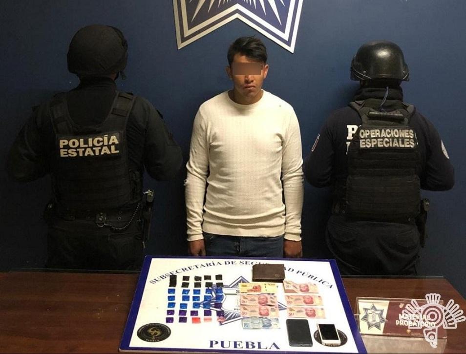 """Detiene SSP a """"El Alex"""", presunto narcomenudista en Cholula"""