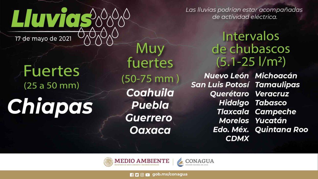 Se pronostican lluvias muy fuertes en Chiapas, y fuertes en regiones de Coahuila, Guerrero, Oaxaca y Puebla