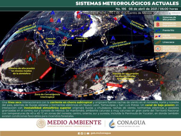 Se pronostican rachas de viento fuertes para el norte, noreste, centro, oriente y sureste de México