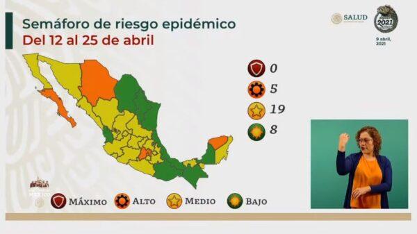 Semáforo Epidemiológico en México: Puebla dentro de los 19 estados en amarillo